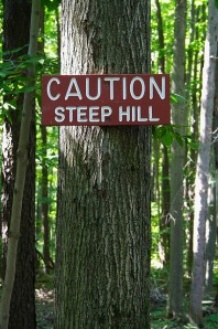caution steep hill