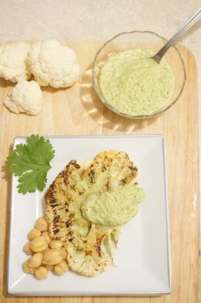 Grilled Cauliflower Steak with Green CilantroRomesco