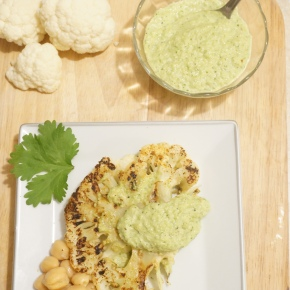 Grilled Cauliflower Steak with Green Cilantro Romesco